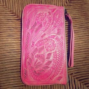 Handbags - Bright Pink Boho Etched Mexican Leather Wristlet